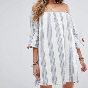 Tularosa Sara Mini Dress Chambray Stripe Medium